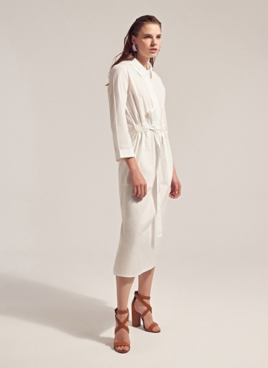 Monamoda Asimetrik Kesim Fermuarlı Gömlek Beyaz